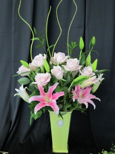 Fresh Flowers for Mother's Day featuring pink lilies and pale pink roses