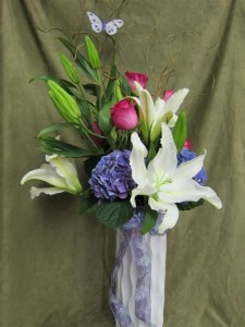 Fresh Flowers for Mother's Day featuring Casa Blanca Lilies, Hydrangea, and Hot Pink Roses