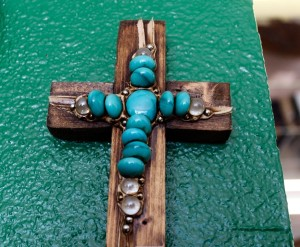 Wood Cross with Stone