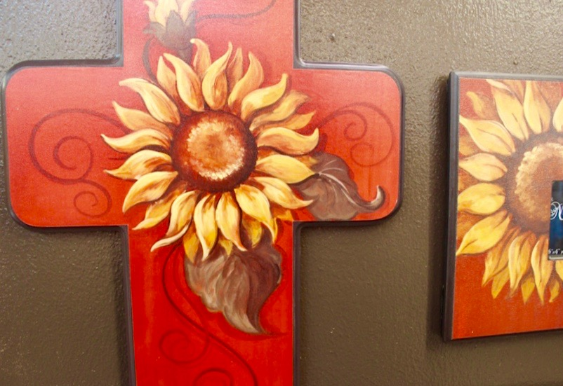 Sunflower Painted Cross